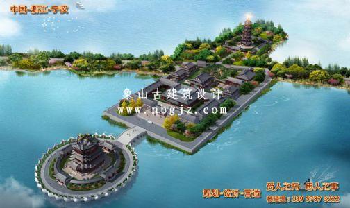 宁波小普陀霞屿禅寺鸟瞰图设计