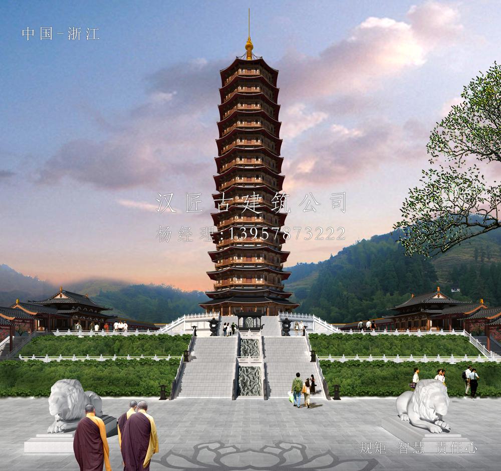 广东台山北峰寺万佛宝塔建筑方案设计