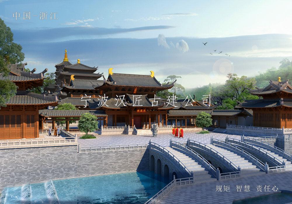 寺院重建规划设计方案鸟瞰图-积福禅寺